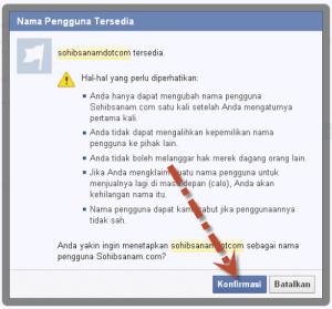 mengganti alamat URL fanspage facebook
