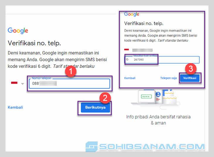 cara versifikasi sms akun google