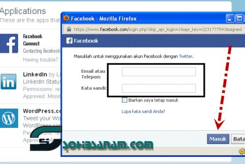 cara menghubungkan akun twitter dengan akun facebook