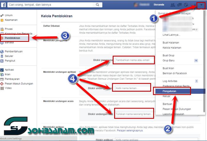 cara memblokir teman aplikasi undangan di facebook
