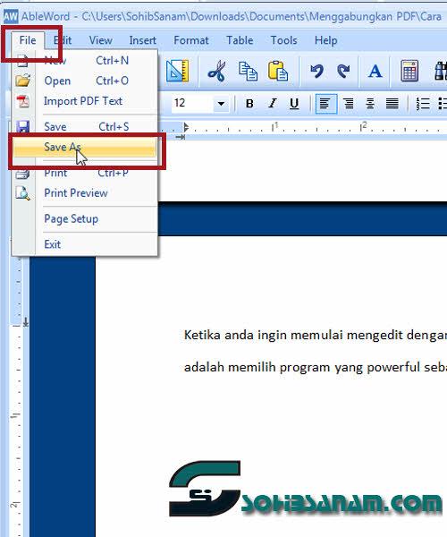 cara menyimpan editan PDF