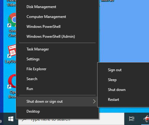 cara mematikan windows 10 lewat klik kanan logo start windolws