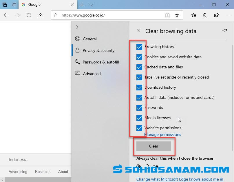 cara delete history browser microsoft edge