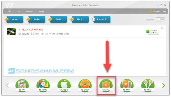 memilih format video mpg