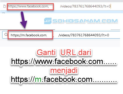 ganti url video di facebook