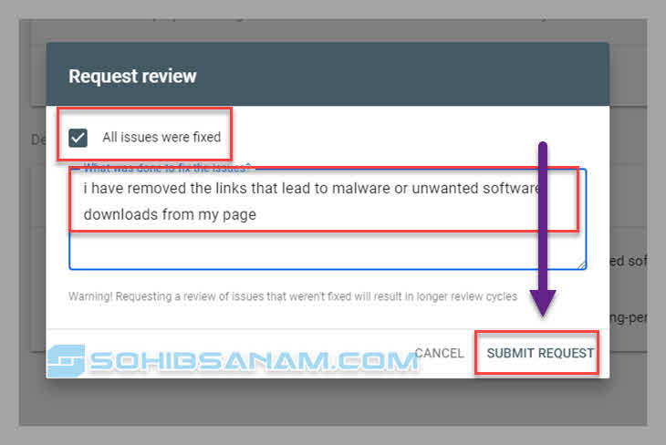 submit review memperbaiki malware di blogger di webmaster