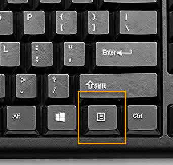 keyboard klik kanan penggantinya pada mouse